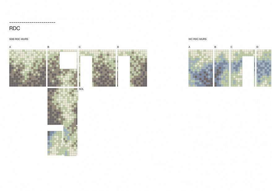 Le calepinage des salles de bains a été réalisé en collaboration avec l'agence Fuga Design